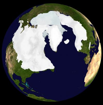 The extent of the Arctic ice cap during the last ice age