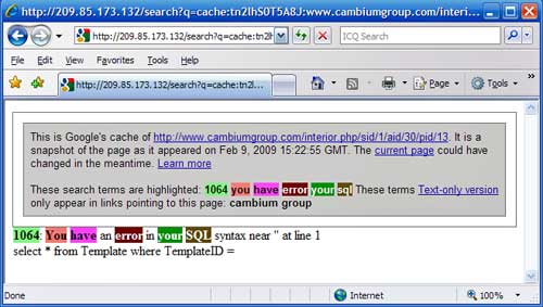 Screenshot of SQL error returned on Cambium Group website
