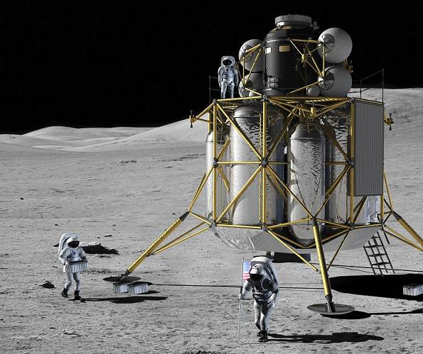 NASA concept art of the new suits and moon lander in action