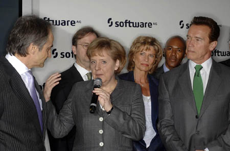 Schwarzenegger on Software AG's Cebit stand