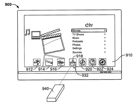 Apple remote-wand patent - calling up an icon dock