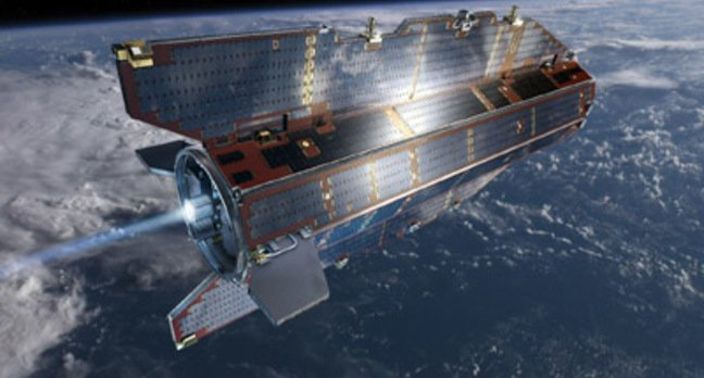 Artist's impression of the GOCE spacecraft in orbit