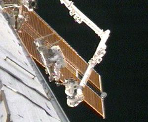 Mission specialist Joseph Acaba during yesterday's spacewalk