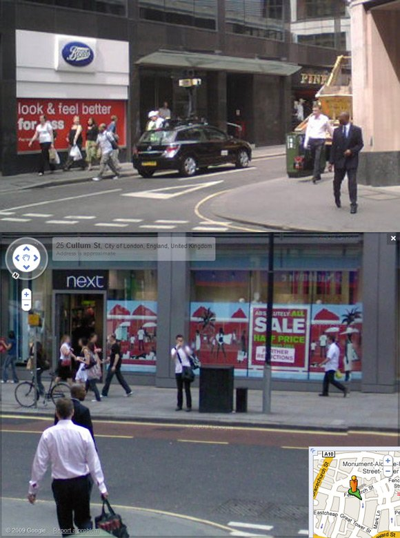 Stephen Hunt caught on Street View in London