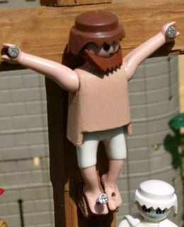 The Playmobil Jesus nailed to the cross