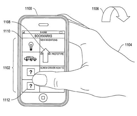 Apple motion-sensor patent illustration