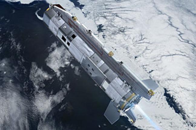 Artist's impression of GOCE orbiting over ice. Pic: ESA