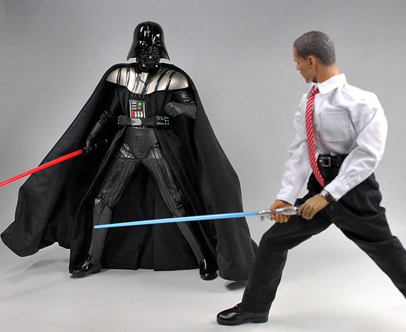 Obama with lightsaber battles Darth Vader