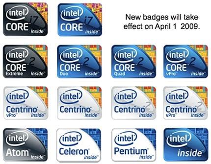 Intel's new processor logos