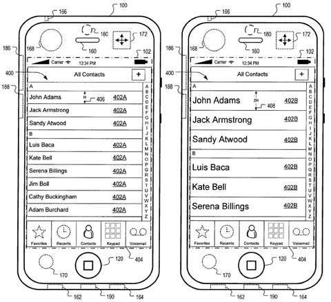 Apple patent illustration - motion-sensitive interface elements