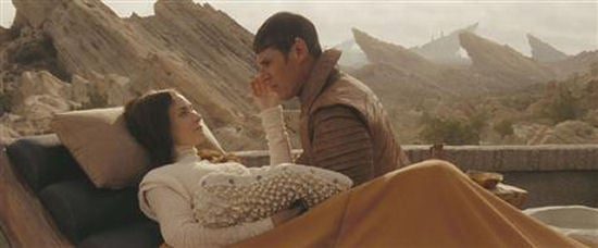 Amanda Grayson, Sarek and sprog in cut scene from Star Trek