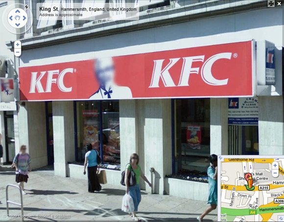 Colonel Sanders blurred on Street View