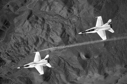 NASA F-18s working on formation aerodynamics