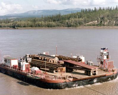 Hovertrans hoverbarge in action on the Yukon river in the 1970s