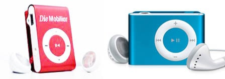 Counterfeit iPod shuffle (left), real iPod shuffle (right)
