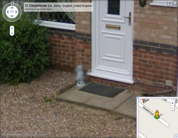 Blurred cat statue on Street View
