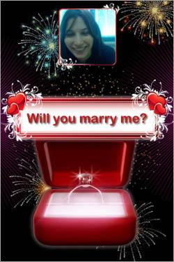 "Proposal ""Will you marry me?"" screenshot"