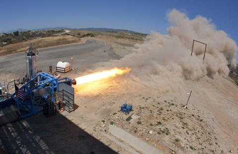 The SpaceShipTwo hybrid rocket in ground testing. Credit: Virgin Galactic