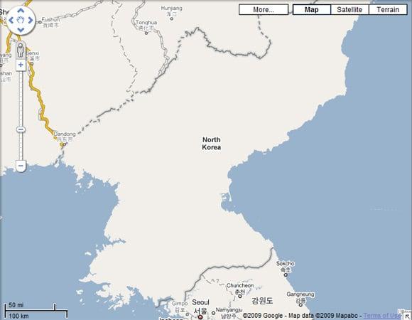 North Korea map on Google Maps