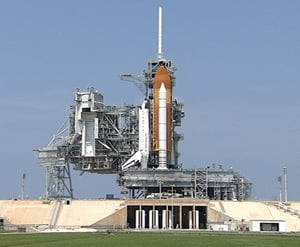 Endeavour on the launch pad at Kennedy Space Center. Pic: NASA