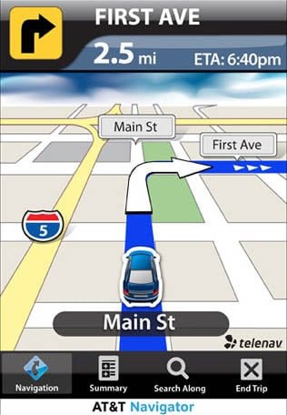 AT&T Navigator turn-by-turn navigation app for the iPhone
