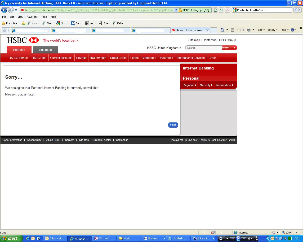 Hsbc online banking hits another wall the register server errors reheart Images