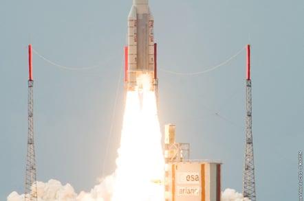 Yesterday's launch of the TerreStar 1 satellite. Pic: ESA