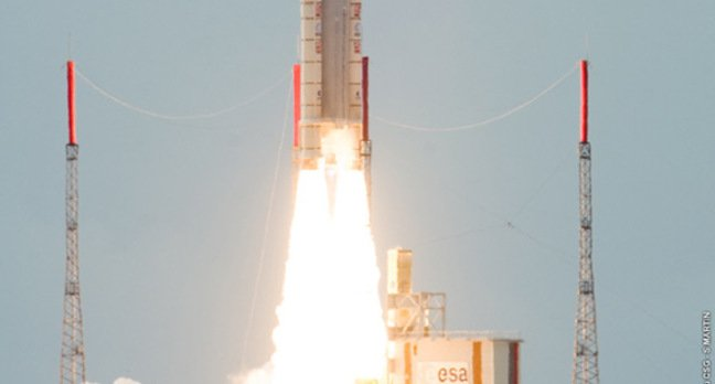 Yesterday's launch of the TerreStar 1 satellite. Pic: ESA