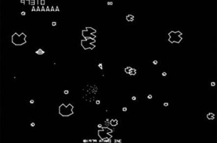 Screen grab of the original Asteroids