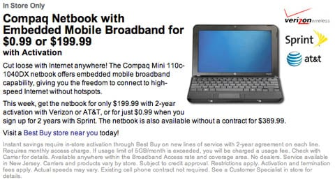 Best Buy's Sprint-subsidized 99¢ netbook deal