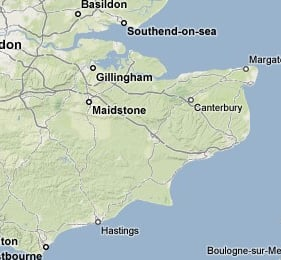 SE England, by Google Maps