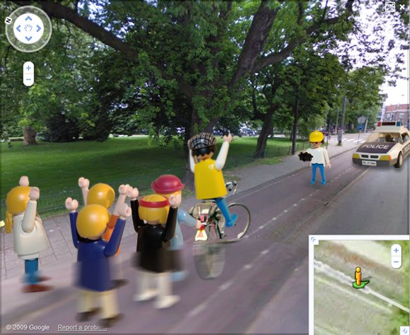 The first shock frame of the bicycle assault caught on Street View
