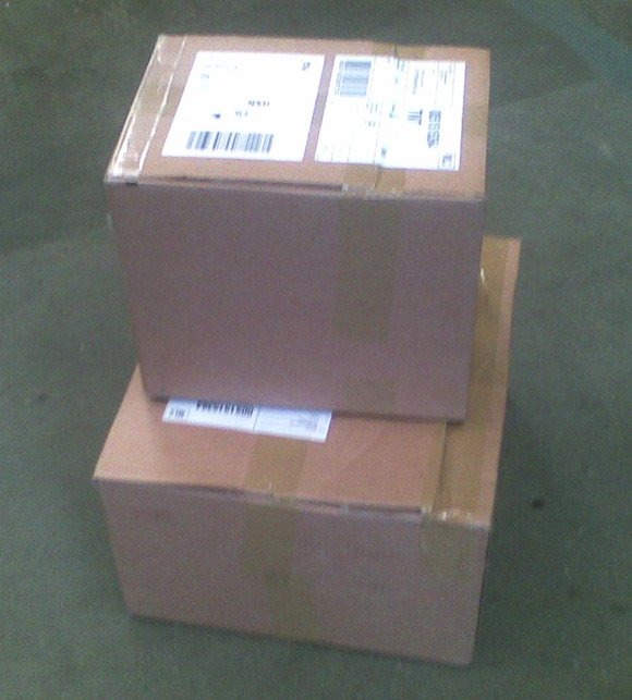 Two large cardboard boxes from Sony