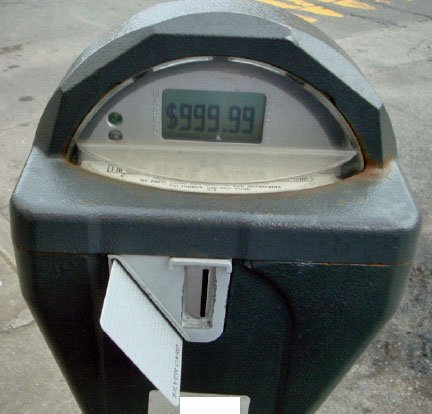 Parking meter displaying smart card balance of $999.99