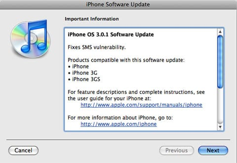 iTunes iPhone 3.0.1 info dialog