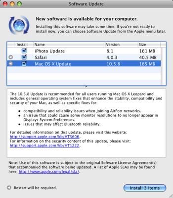 EFiX Mac Update panel