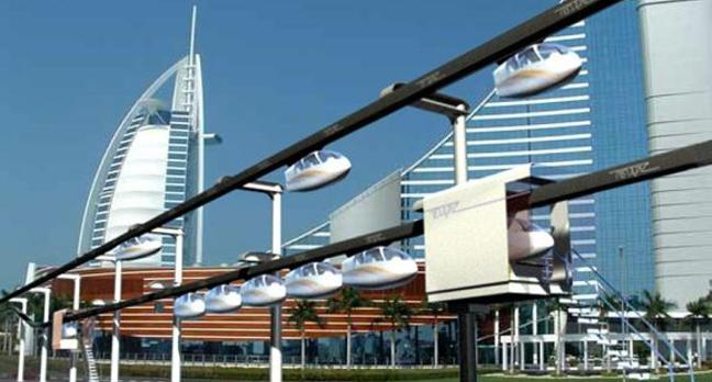 Concept of the Unimodal SkyTran system in use in Dubai.