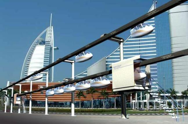 Concept of the Unimodal SkyTran system in use in Dubai.