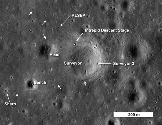 LRO image of the Apollo 12 landing site. Pic: NASA