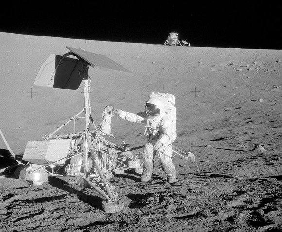 Alan Bean inspects Surveyor 3. Pic: NASA