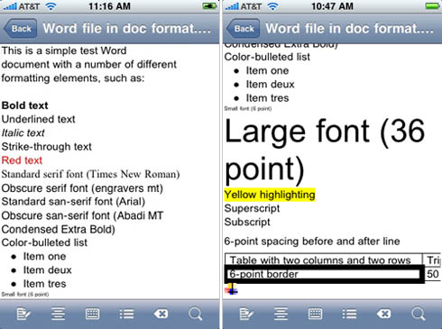 Quickoffice Mobile Office Suite 1.4.1 for iPhone - screenshots