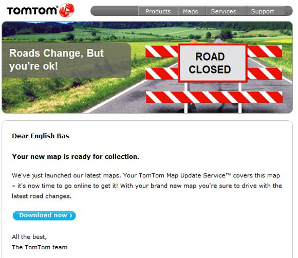 "TomTom map update addressed to ""Dear English Bas"""