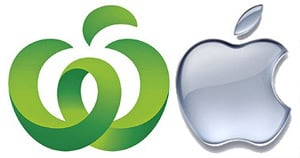The Woolworths and Apple logos