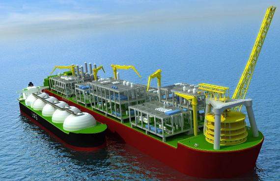 Artist's impression of an FLNG ship in operation, with a gas supertanker alongside to receive cargo. Credit: Shell