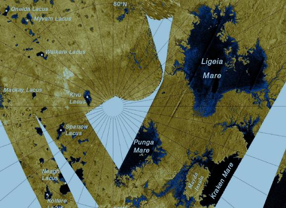 The hydrocarbon lakes of Titan's north polar region. Credit: NASA
