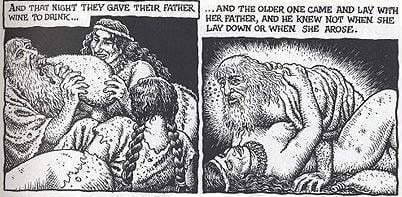 Lot seduced by his daughter, as depicted by Robert Crumb