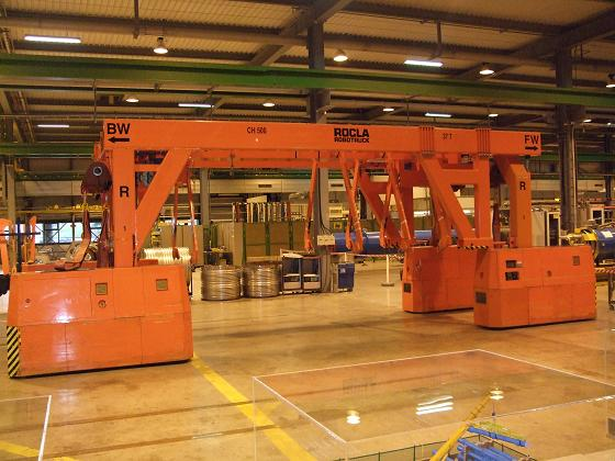 An automated carrier used to move LHC magnet-pipes about