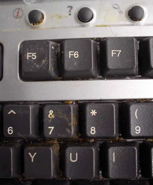 Keyboard clogged with unidentified foodstuff