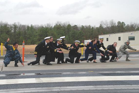 The EMALS aircraft mass-driver fires a ceremonial opening shot. Credit: NAVAIR
