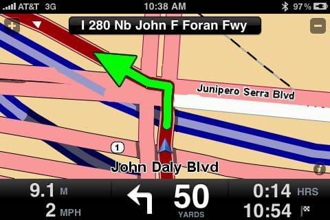 TomTom app for iPhone - freeway onramp